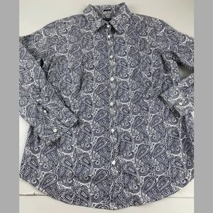Talbots Womens Paisley Button Front Shirt SZ 16W
